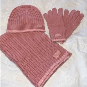 Coach Scarf, Hat, and Gloves Matching Pink